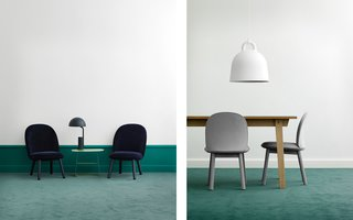The Ace Lounge Chair in dark blue velour and the Ace Dining Table Chair in grey wool.