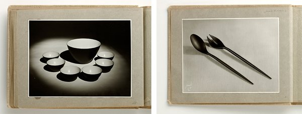 Images from Herbet Krenchel's private photo album of the Krenit bowl and the matching salad servers.
