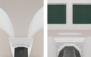 Classical details of the white stucco and bas-reliefs beautifully contrast the emerald green ceiling.