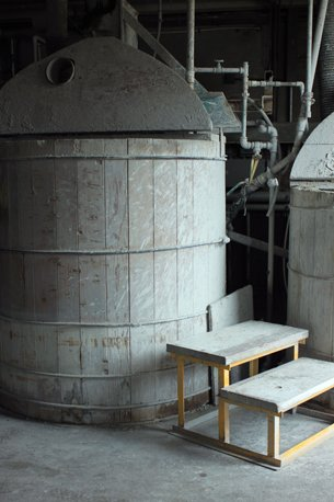 All of our clay is made on-site. It's mixed with water, extruded, and cut into pieces in preparation for the forming area.