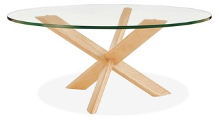 The Union coffee table utilizes an interlocking three-part lap joint in the base of the table.