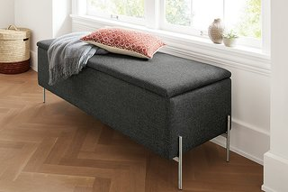 Paxton storage ottoman in Sumner charcoal fabric
