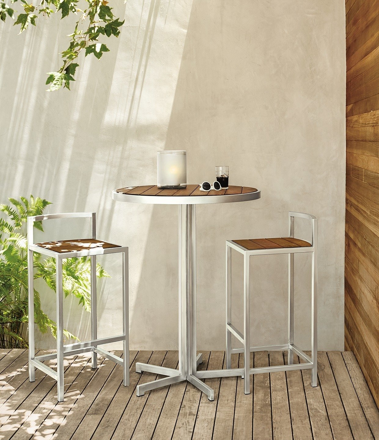 Outdoor and Back Yard Montego round bar table, Montego bar stools  Photo 7 of 8 in Expert Design Advice: Outdoor Dining Spaces