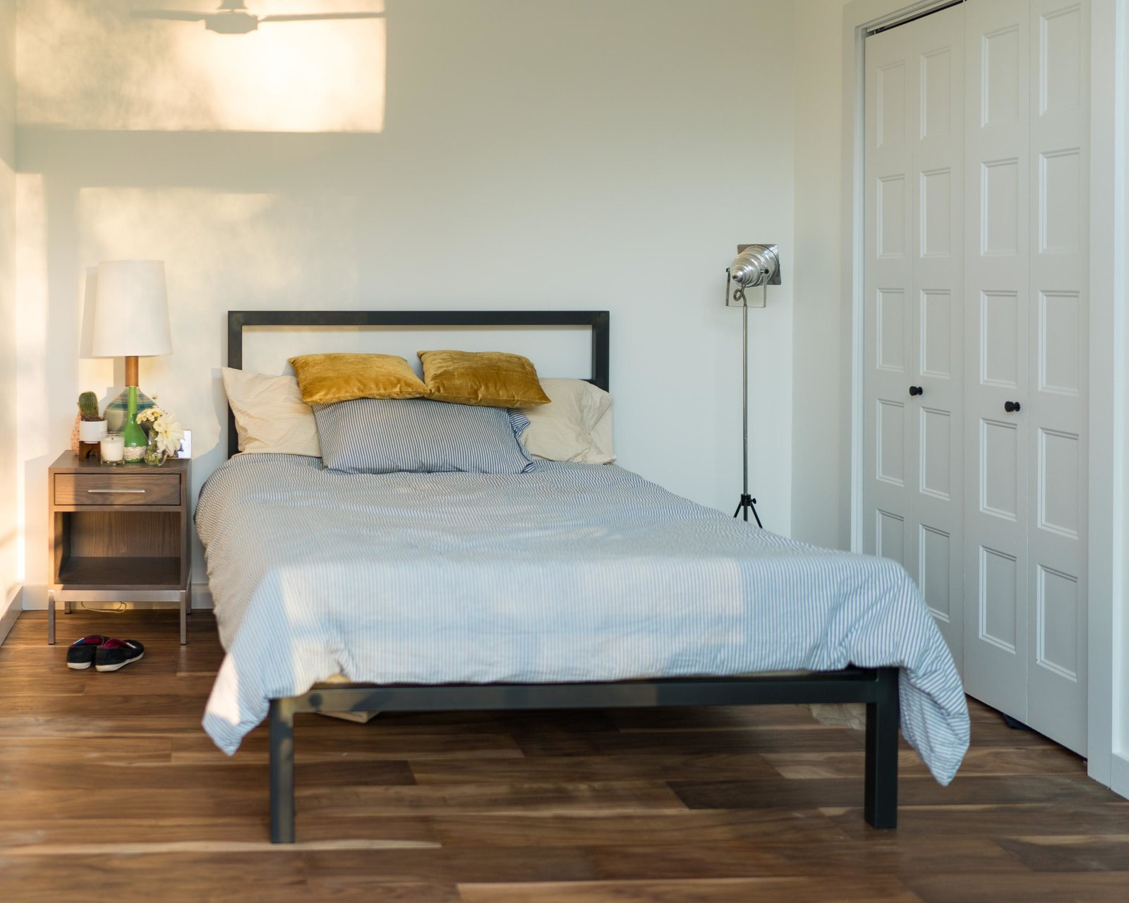 Parsons bed, Alden nightstand and Rayas table lamp  Photo 10 of 11 in Home Tour: Theron Humphrey of This Wild Idea