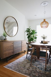 Adrian storage cabinet, Evan dining chairs, Ventura dining table