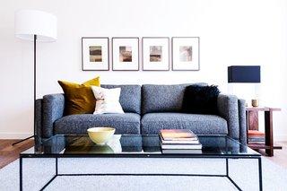 Crane floor lamp, Cade sofa, Tyne coffee table, Kira end table, Formline table lamp, throw pillows