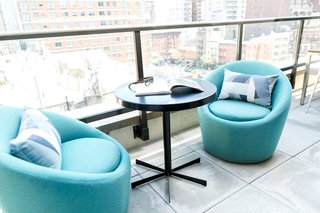 Crest swivel chairs, Maris table