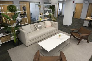 Macalester sofa, Foshay bookcases, Tyne coffee table, Lars chairs