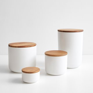 Stoneware White Containers
