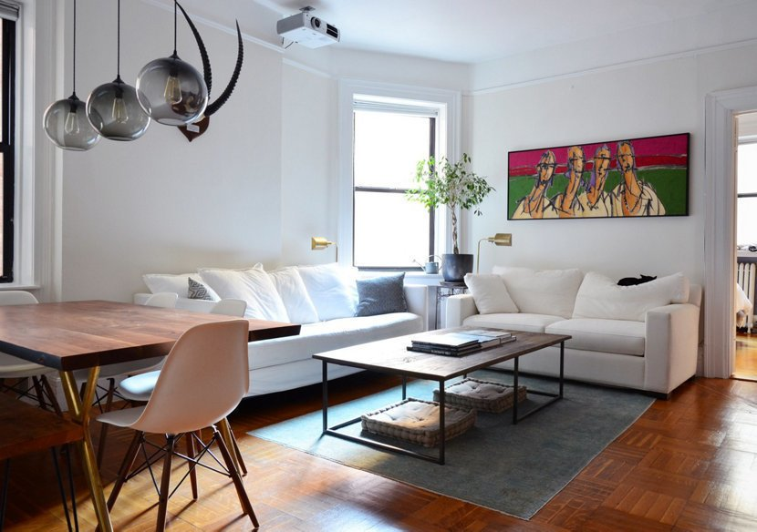 Photo 1 of 4 in Table Pendant Lighting Adds to New York City Home's Unique Minimalism