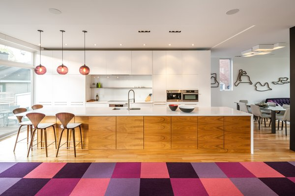 Plum Modern Pendant Lighting Adds Pop of Color in Canadian Kitchen