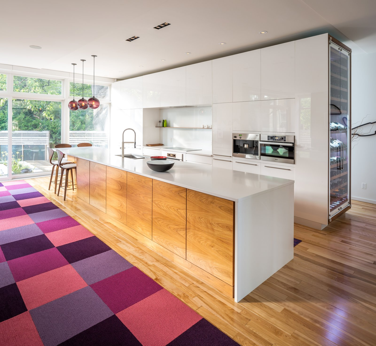 Photo 2 of 5 in Plum Modern Pendant Lighting Adds Pop of Color in Canadian Kitchen