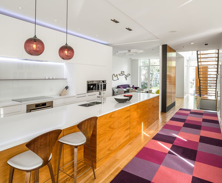 Photo 4 of 5 in Plum Modern Pendant Lighting Adds Pop of Color in Canadian Kitchen