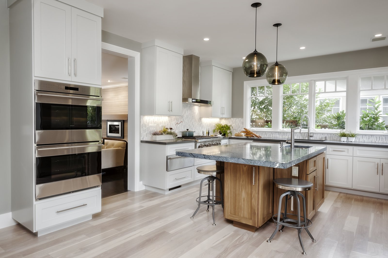 Contemporary Kitchen Island Pendants Spotted In California Home