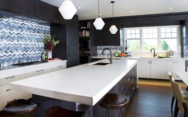 Bold Kitchen Island Pendant Lighting Shines Bright in Boston Home