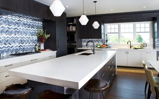 Bold Kitchen Island Pendant Lighting Shines Bright in Boston Home