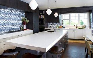 Bold Kitchen Island Pendant Lighting Shines Bright in Boston Home - Photo 1 of 3 -