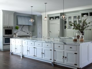 Modern Farmhouse Incorporates Contemporary Kitchen Island Pendant Lighting