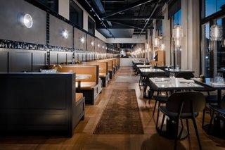 modern restaurant lighting. Guests Enjoy Meal Under Modern Restaurant Pendant Lighting In Sweden - Photo 3 Of