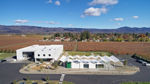 An aerial view of the Ashes & Diamonds winery and tasting room.