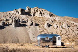 The Kugelschiff is a live/work Airstream trailer that can travel the landscape.