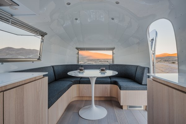 The Airstream's meeting area is marked by an Eero Saarinen-designed Tulip table.
