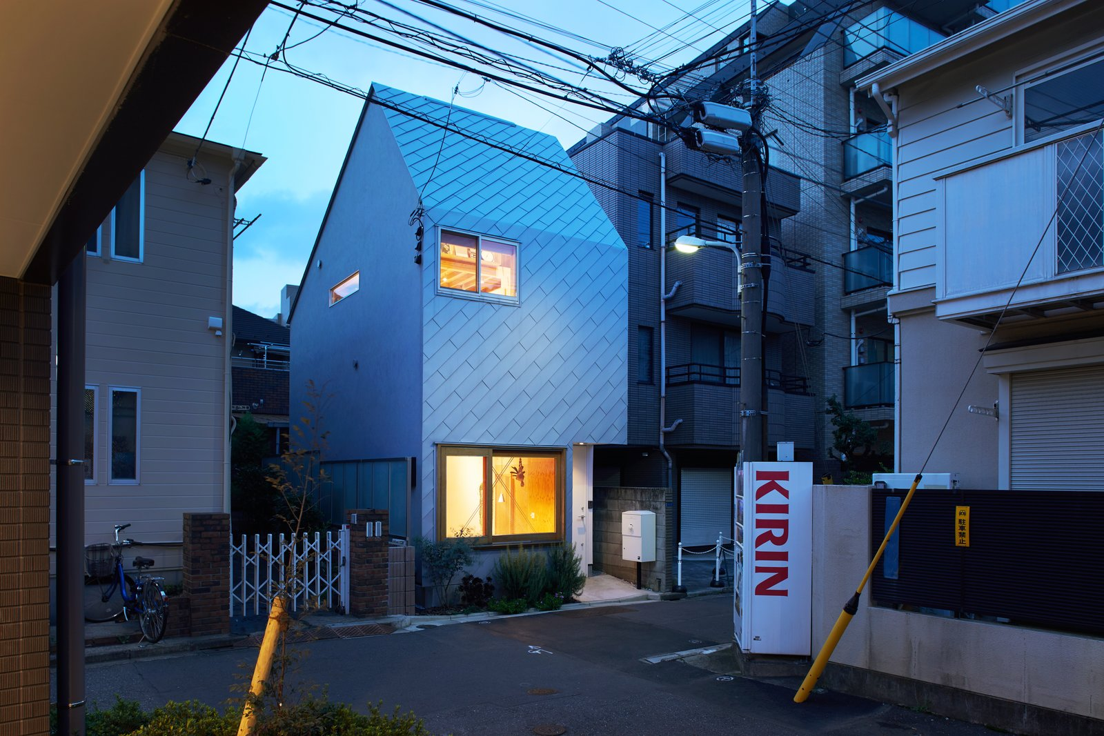 Exterior, Metal Roof Material, Small Home Building Type, Gable RoofLine, and Metal Siding Material  Photo 1 of 12 in A Pint-Sized Japanese Tiny Home Is Shaped Like a Milk Carton