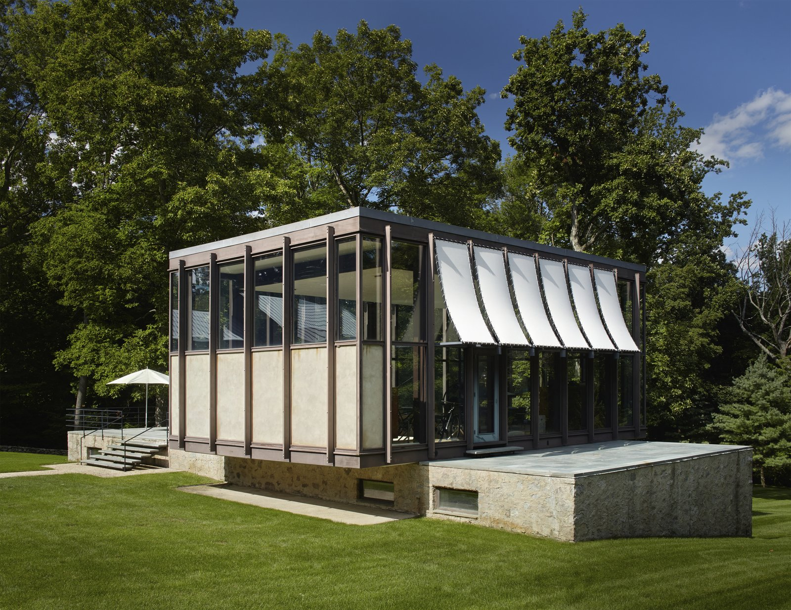 Exterior, Flat, House, Glass, Stone, Mid-Century, and Metal  Best Exterior Mid-Century Glass Photos from A Midcentury Marvel Designed by Philip Johnson in New Canaan Asks $8.5M