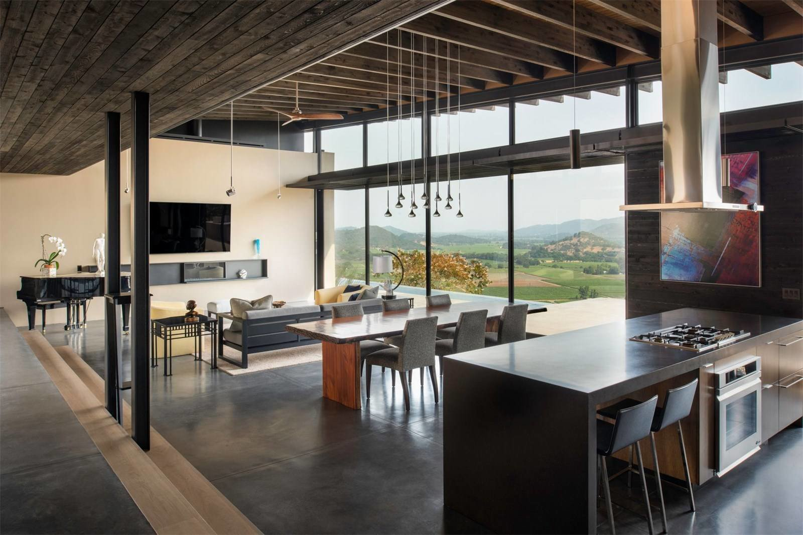 Kitchen, Range Hood, Cooktops, Pendant Lighting, and Wall Oven  Pieces from A Breathtaking Modern Estate in Napa Hits the Market