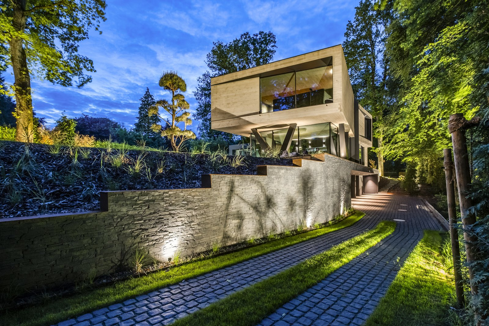 Exterior, Stone Siding Material, Concrete Siding Material, House Building Type, and Flat RoofLine  A Sculptural Abode in Germany Asks $3.59M