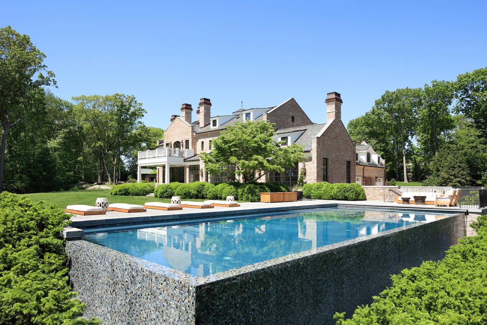 Modern home with Outdoor, Grass, Back Yard, Shrubs, Large Pools, Tubs, Shower, and Trees. Photo 5 of A Richard Landry-Designed Home in Massachusetts Asks $39.5M