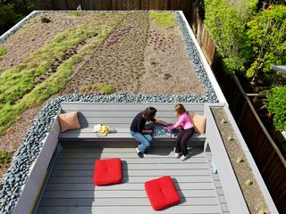 Rian and Melissa Jorgensen's 2 Bar House in Menlo Park boasts all the usual green design suspects: energy-efficient lighting, good insulation, renewable material finishes, radiant heat, and the roof is pre-wired for future PV panels. Still, one of the homeowner's favorite aspect of  green design is the living roof that's planted with succulents, aloe, viviums, and ice plants.