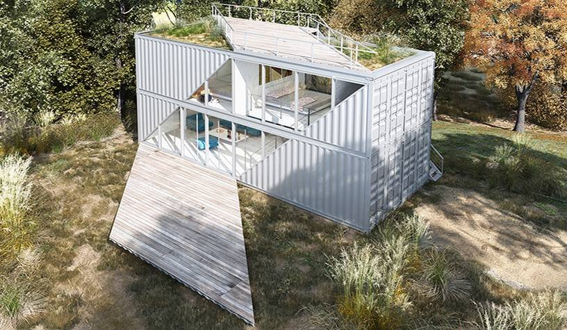 Exterior, Shipping Container Building Type, Prefab Building Type, Flat RoofLine, Metal Siding Material, and Glass Siding Material Based in Sacramento, CA, TAYNR specializes in prefab homes built from shipping containers.  Photo 6 of 10 in 10 Steel Prefabs That Are Both Modern and Practical