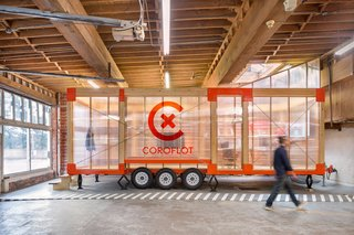 Design Week Portland Showcases the Talent of its Vibrant Design Community - Photo 5 of 13 - Modular and mobile—the (MWU) houses five work stations in 280 square feet and is parked inside an old ambulance garage in downtown Portland—ready to be hitched to a trailer and relocated should the need arise.