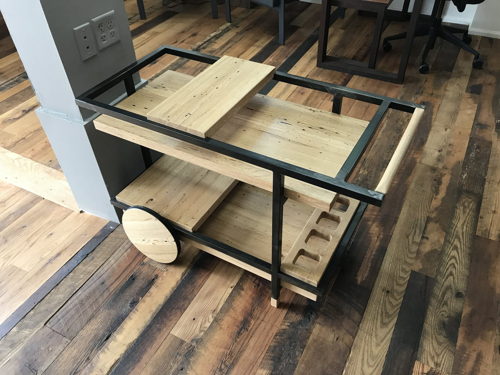Artisan Bryan Danger's bar cart in reclaimed oak at the Pioneer Millworks open house.  Photo 12 of 14 in Design Week Portland Showcases the Talent of its Vibrant Design Community