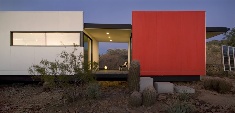 Talesin Mod.Fab was developed by students at Taliesin West in collaboration with Victor Sidy  Siegal. The stunning result is very Frank Lloyd Wright meets a desert prefab.  Photo 6 of 15 in Eco-Friendly Prefabs and the Modern Mobile Home: Spotlight on Jennifer Siegal