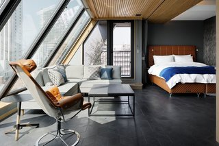 Rooms range from singles to luxurious penthouses.