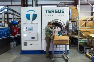 Tersus Solutions' laundry machine produces an extremely high level of cleanliness for recycled products, while being environmentally-friendly.