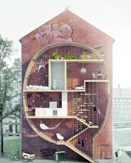 "Danish architects Mateusz Mastalski and Ole Robin Storjohann's ""Live Between Buildings"" is a ""proposal"" for micro-living for urban areas."