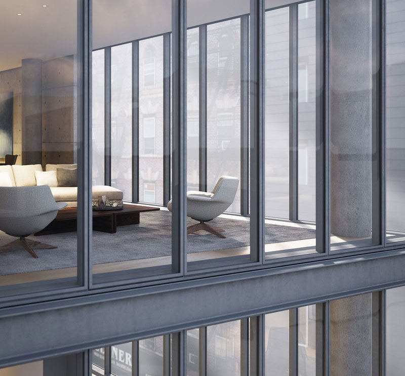 Living Room The project will incorporate materials that are Ando hallmarks: poured-in-place concrete, galvanized steel, voluminous glass, and natural elements including multiple water features and green walls.  Photo 3 of 10 in A Look Into NYC's 152 Elizabeth Street, Tadao Ando's First Residential Project Outside of Asia