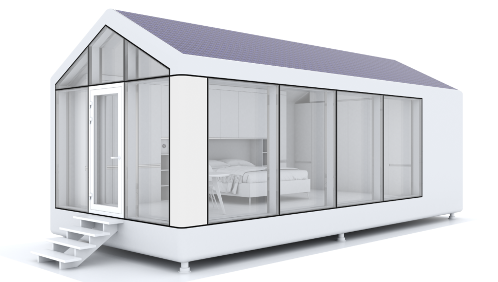 The modulOne, includes solar panels to power a climate control system, a clean water system, and an air quality control system. The frame is made of 3D-printed carbon fiber and fiberglass, and the entire house is recyclable.  Photo 3 of 6 in This Zero-Energy Passive Mobile Prefab Was Partially 3D Printed