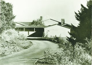 The black-and-white image captured the geometry of the Watzek House, with its roof angles perfectly mirroring Mount Hood.