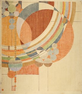 "Frank Lloyd Wright, March Balloons, 1955. Drawing based on a 1926 design for Liberty magazine. Colored pencil on paper, 28 1/4"" x 24 1/2"". The Frank Lloyd Wright Foundation Archives (The Museum of Modern Art 