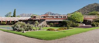 Taliesin West in Scottsdale, Arizona, 1937. Built and maintained almost entirely by Wright and his apprentices, it was one of the architect's most personal creations.