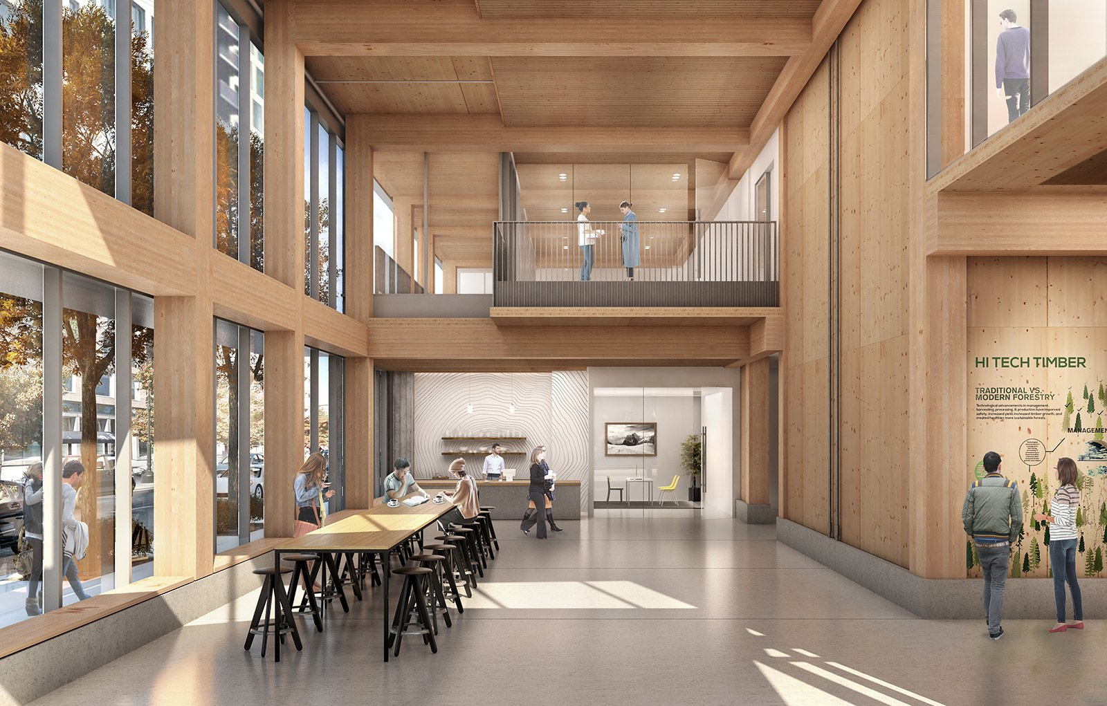Dining Room, Table, Stools, Bar, Pendant Lighting, and Recessed Lighting Interior rendering of Framework.  Photo 3 of 7 in The First Mass Timber High-Rise Building in the U.S. Gets the Green Light For Construction