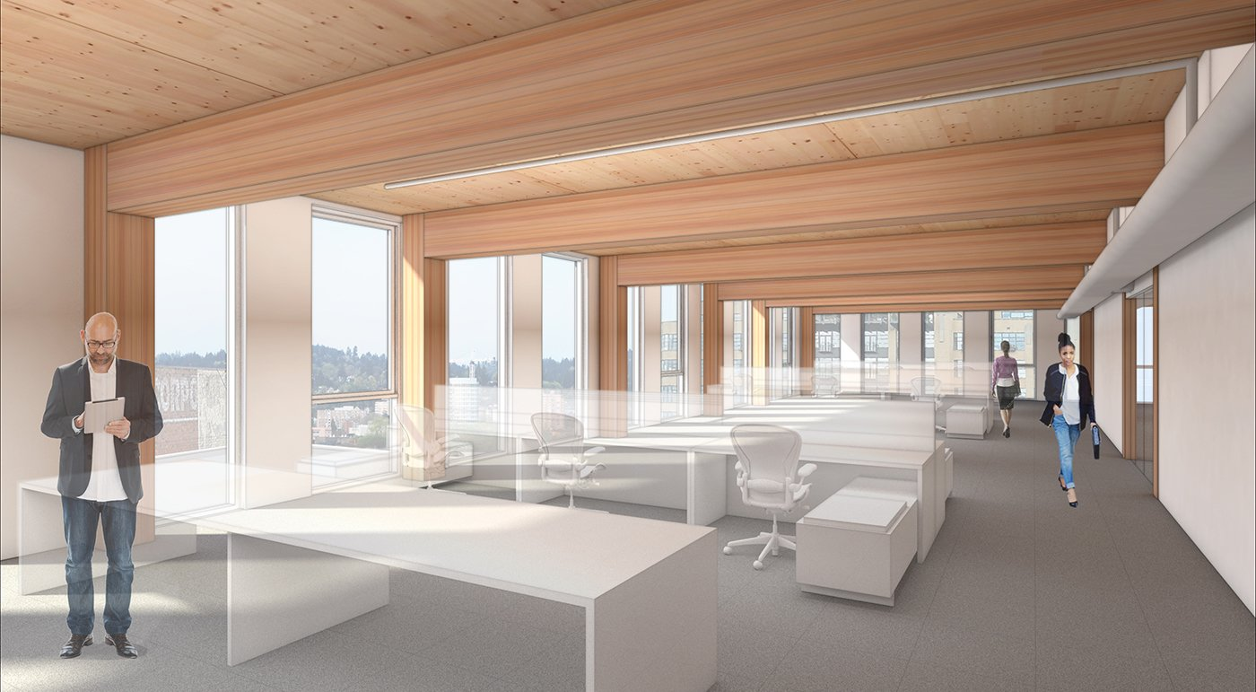 Office rendering, Framework.  Photo 4 of 7 in The First Mass Timber High-Rise Building in the U.S. Gets the Green Light For Construction