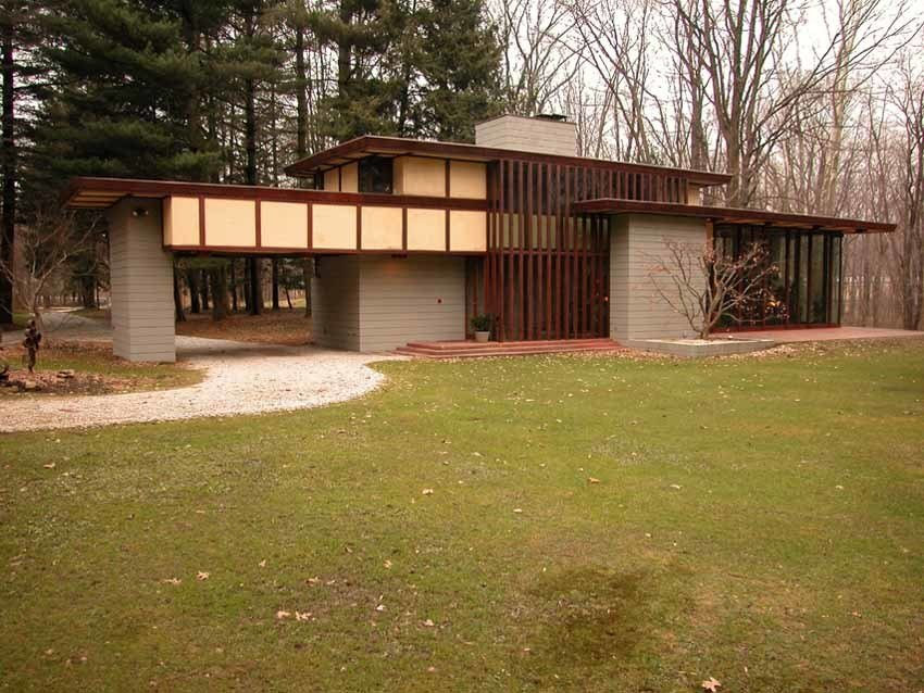 Each home that Wright designed was unique to its circumstances and the Penfield House was no exception. Set on 30 acres in Lake County, Ohio, Wright designed the house in the 1950s with taller ceilings than the other Usonians, and an elongated profile to accommodate his client Louis Penfield—who was 6 feet eight inches tall.  Photo 5 of 11 in 10 Frank Lloyd Wright Homes Available to Rent Right Now