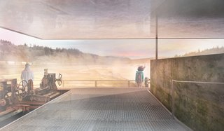 The destination overlook of the riverwalk will take advantage of the precipitous location of the historic Hawley Powerhouse Foundation. The overlook will be composed of two levels, each ADA-accessible. Above, a new platform will open up to an unimpeded 360-degree view of the surrounding region from the center of the river and falls.