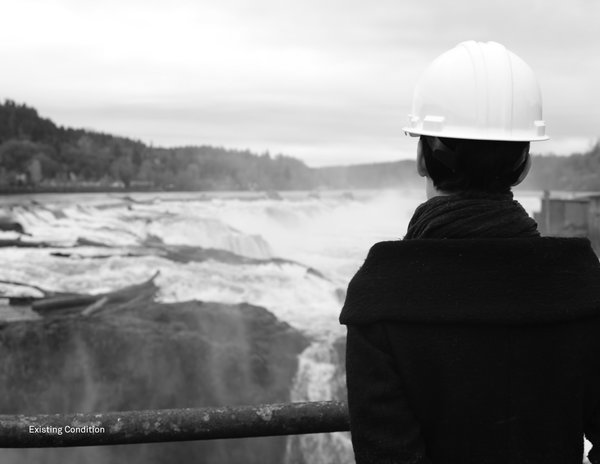 What the landscape currently looks like.  Photo 8 of 8 in Snøhetta Designs a New Riverwalk That Will Bring Public Access to Oregon City's Willamette Falls