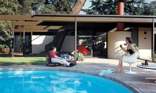 Saul and Dr. Ruth Bass poolside at Case Study House #20B in Altadena, California, 1958.